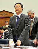 Washington, D.C. - February 24, 2010 --  Akio Toyoda, President and CEO, Toyota Motor Corporation stands up and looks towards the Chairman following his testimony before the U.S. House Committee on Government and Reform examining the Federal government's response to the recall of millions of Toyota vehicles due to reports of malfunctioning gas pedals, and to gain a better understanding of the nature of the sudden acceleration problem in Toyota vehicles and what should be done about it.  .Credit: Ron Sachs / CNP.(RESTRICTION: NO New York or New Jersey Newspapers or newspapers within a 75 mile radius of New York City)
