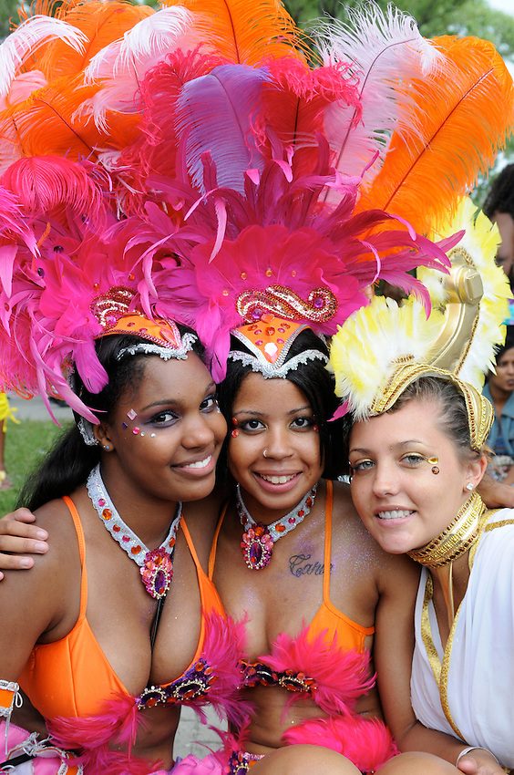 Three beautiful young Toronto Caribana Princesses fresh from the glow of the 2010 parade.