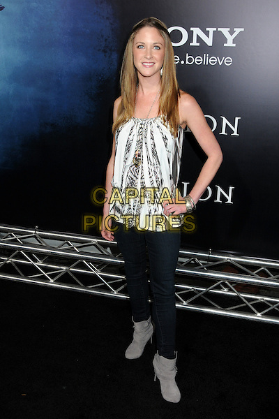 """LESLEA FISHER .""""Legion"""" Los Angeles Premiere held at Arclight Cinemas Cinerama Dome,  Hollywood, California, USA, .21st January 2010..full length white print top jeans grey gray ankle boots hand on hip .CAP/ADM/BP.©Byron Purvis/AdMedia/Capital Pictures."""