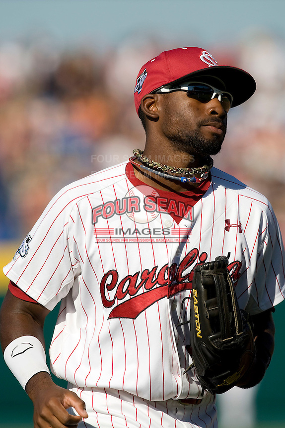 South Carolina CF Jackie Bradley Jr in Game Two of the NCAA Division One Men's College World Series Finals on June 29th, 2010 at Johnny Rosenblatt Stadium in Omaha, Nebraska.  (Photo by Andrew Woolley / Four Seam Images)