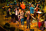 Pink Martini with Thomas Lauderdale on piano rehearsing with the Oregon Symphony with the von Trapps at the Arlene Schnitzer concert hall in Portland, Oregon.
