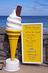 AMFXF4 large model icecream cone and menu board Cromer Norfolk England