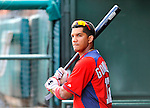 3 March 2011: Washington Nationals' infielder Alberto Gonzalez swings a bat in the dugout during a Spring Training game against the St. Louis Cardinals at Roger Dean Stadium in Jupiter, Florida. The Cardinals defeated the Nationals 7-5 in Grapefruit League action. Mandatory Credit: Ed Wolfstein Photo