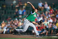 Dayton Dragons pitcher Carlos Gonzalez #18 during a Midwest League game against the Fort Wayne TinCaps at Parkview Field on August 19, 2012 in Fort Wayne, Indiana.  Dayton defeated Fort Wayne 5-1.  (Mike Janes/Four Seam Images)