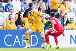 Tom Rogic of Australia (L) competes for the ball with Baha Abdelrahman of Jordan (R) during the AFC Asian Cup UAE 2019 Group B match between Australia (AUS) and Jordan (JOR) at Hazza Bin Zayed Stadium on 06 January 2019 in Al Ain, United Arab Emirates. Photo by Marcio Rodrigo Machado / Power Sport Images