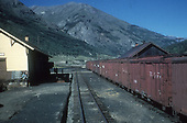 A string of D&amp;RGW box cars alongside the Silverton depot.<br /> D&amp;RGW  Silverton, CO