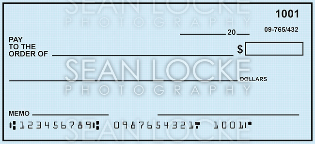 Blank check, designed from scratch.  Numbers are fake.