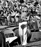 Oakland A's ball girl Debbie Sivyer AK Debbie Fields of Mrs. Fields cookie fame.         <br /> (photo/Ron Riesterer)