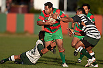 Tim Nanai Williams & Samisoni Fisilau try to stop the charging run of Manukia Manuika. Counties Manukau Premier Club Rugby game between Wauku & Manurewa played at Waiuku on Saturday June 6th. Manurewa won 36 - 31 after leading 14 - 12 at halftime.