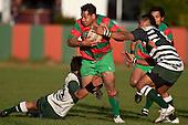 Tim Nanai Williams & Samisoni Fisilau try to stop the charging run of Manukia Manuika. Counties Manukau Premier Club Rugby game between Wauku & Manurewa played at Waiuku on Saturday June 6th. Manurewa won 36 - 31 after leading 14 - 12 at halftime.