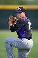 Colorado Rockies pitcher Sam Thoele (73) during practice before an instructional league game against the SK Wyverns on October 10, 2015 at the Salt River Fields at Talking Stick in Scottsdale, Arizona.  (Mike Janes/Four Seam Images)