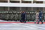 Egyptian President Abdel Fattah al-Sisi and Gabon's President Ali Bongo Ondimba inspect the honor guard in Libreville on August 16, 2017. Photo by Egyptian President Office