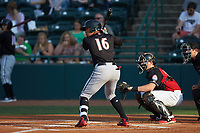 Luis Curbelo (16) of the Kannapolis Intimidators at bat against the Hickory Crawdads at L.P. Frans Stadium on July 20, 2018 in Hickory, North Carolina. The Crawdads defeated the Intimidators 4-1. (Brian Westerholt/Four Seam Images)