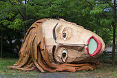 "Bochum, Germany. 15 August 2015. Pictured: The Head Claudia, 2005, by Atelier van Lieshout.  ""The Good, the Bad and the Ugly"", art installations by Atelier van Lieshout at the Ruhrtriennale arts festival, Jahrhunderthalle in Bochum."
