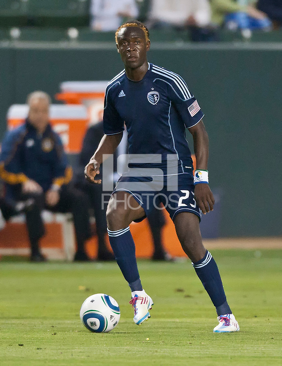 CARSON, CA – May 14, 2011: Sporting KC forward Kei Kamara during the match between LA Galaxy and Sporting Kansas City at the Home Depot Center in Carson, California. Final score LA Galaxy 4, Sporting Kansas City 1.