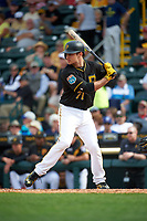 Pittsburgh Pirates second baseman Max Moroff (71) at bat during a Spring Training game against the Toronto Blue Jays  on March 3, 2016 at McKechnie Field in Bradenton, Florida.  Toronto defeated Pittsburgh 10-8.  (Mike Janes/Four Seam Images)