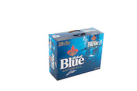 A pack of 20 355ml cans of Blue Labatt (Labatt Bleue) beer is pictured over a pure white background.