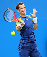 13.06.13 London, England. Andy Murray in action against Nicolas Mahut during the The Aegon Championships from the The QueenÕs Club in West Kensington.