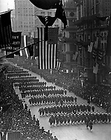 Sailors from Pelham Bay Naval Training Station marching down Fifth Avenue in the Fourth Liberty Loan Parade, New York City.  1918.  Paul Thompson.  (War Dept.)<br />