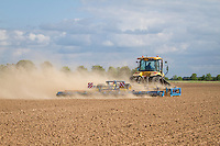 Cultivating for drilling vining peas; very dry & dusty - MAy, South Lincolnshire