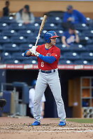 Danny Espinosa (8) of the Buffalo Bison at bat against the Durham Bulls at Durham Bulls Athletic Park on April 25, 2018 in Allentown, Pennsylvania.  The Bison defeated the Bulls 5-2.  (Brian Westerholt/Four Seam Images)