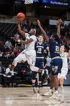 Amber Campbell (2) of the Wake Forest Demon Deacons drives to the basket past Zaire O'Neil (21) of the Georgia Tech Yellow Jackets during first half action at the LJVM Coliseum on January 22, 2017 in Winston-Salem, North Carolina.  The Demon Deacons defeated the Yellow Jackets 70-65 in overtime.  (Brian Westerholt/Sports On Film)