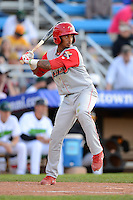 Williamsport Crosscutters shortstop Angelo Mora #2 during a game against the Jamestown Jammers on June 20, 2013 at Russell Diethrick Park in Jamestown, New York.  Jamestown defeated Williamsport 12-6.  (Mike Janes/Four Seam Images)