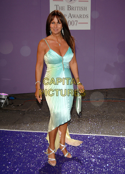 LINDA LUSARDI.Arrivals at the British Soap Awards 2007,.BBC Television Centre, London, England, .May 26, 2007..full length plae blue green dress pleated.CAP/PL.©Phil Loftus/Capital Pictures