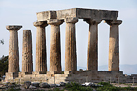 A general view of the Temple of Apollo, on April 15, 2007 in Corinth, Greece. Standing prominently on a knoll the Temple of Apollo was built in the 7th century BC in the Doric Order. Seven of its original 38 columns remain standing and are seen here in the afternoon light. It is one of the oldest temples in Greece. Corinth, founded in Neolithic times, was a major Ancient Greek city, until it was razed by the Romans in 146 BC.