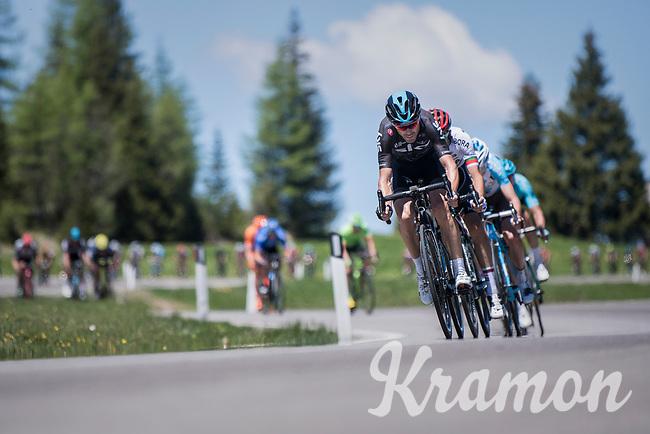 The head of the snake: Philip Deignan (IRL/SKY) leading the stretched peloton down the Passo Monte Croce Comelico / Kreuzbergpass (1636m)<br /> <br /> Stage 19: San Candido/Innichen &rsaquo; Piancavallo (191km)<br /> 100th Giro d'Italia 2017