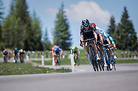 The head of the snake: Philip Deignan (IRL/SKY) leading the stretched peloton down the Passo Monte Croce Comelico / Kreuzbergpass (1636m)<br /> <br /> Stage 19: San Candido/Innichen › Piancavallo (191km)<br /> 100th Giro d'Italia 2017