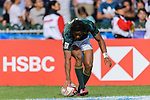 Stedman Gans of South Africa scores a try during the HSBC Hong Kong Sevens 2018 Bronze Medal Final match between South Africa and New Zealand on 08 April 2018 in Hong Kong, Hong Kong. Photo by Marcio Rodrigo Machado / Power Sport Images