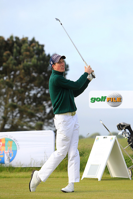 Brien O'Reilly (Athenry) on the 1st tee during Round 2 of the Irish Amateur Close Championship at Seapoint Golf Club on Sunday 8th June 2014.<br /> Picture:  Thos Caffrey / www.golffile.ie