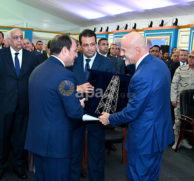 Egyptian President Abdel Fattah al-Sisi attends an official ceremony for the inauguruation of the offshore Zohr gas field in the northern Suez canal city of Port Said on January 31, 2018. At the ceremony attended by Sisi, Petroleum Minister Tarek al-Molla said the country expected to save $2.8 billion annually by ceasing to import liquified natural gas following production from the field discovered in 2015 by Italian energy giant Eni, with an initial 350 million cubic feet (10 million cubic metres) a day. Photo by Egyptian President Office
