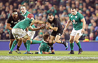 19th November 2016 | IRELAND vs NEW ZEALAND<br /> <br /> Aaron Cruden is tackled by Finlay Bealham during the Autumn Series International clash between Ireland and New Zealand at the Aviva Stadium, Lansdowne Road, Dublin,  Ireland. Photo by John Dickson/DICKSONDIGITAL