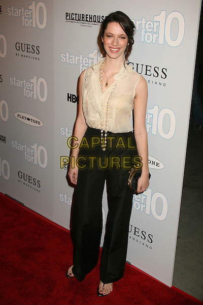 "REBECCA HALL.""Starter For 10"" Los Angeles Premiere at ArcLight Cinemas, Hollywood, California, USA..February 6th, 2007.full length black trousers beige cream sleeveless sheer ruffle blouse top necklace.CAP/ADM/BP.©Byron Purvis/AdMedia/Capital Pictures"