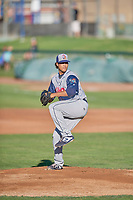 Rocky Mountain Vibes starting pitcher Wuilder Rodriguez (35) delivers a pitch to the plate against the Ogden Raptors at Lindquist Field on July 19, 2019 in Ogden, Utah. The Raptors defeated the Vibes 9-5. (Stephen Smith/Four Seam Images)