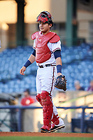 Mississippi Braves catcher Alex Jackson (25) during a game against the Mobile BayBears on May 7, 2018 at Trustmark park in Pearl, Mississippi.  Mobile defeated Mississippi 5-0.  (Mike Janes/Four Seam Images)
