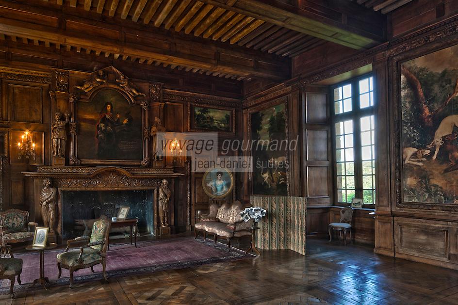 Europe/France/Aquitaine/24/Dordogne/Jumilhac-le-Grand: Château de Jumilhac  - Grand-salon lambrissé,