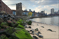 Brooklyn Bridge with green algae-covered rocks.