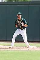 Oakland Athletics first baseman Mickey McDonald (16) during an exhibition game against Team Italy at Lew Wolff Training Complex on October 3, 2018 in Mesa, Arizona. (Zachary Lucy/Four Seam Images)