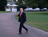 United States President Donald J. Trump returns to the White House in Washington, DC after a trip with events in Iowa and Illinois, July 26, 2018.<br /> Credit: Chris Kleponis / Pool via CNP