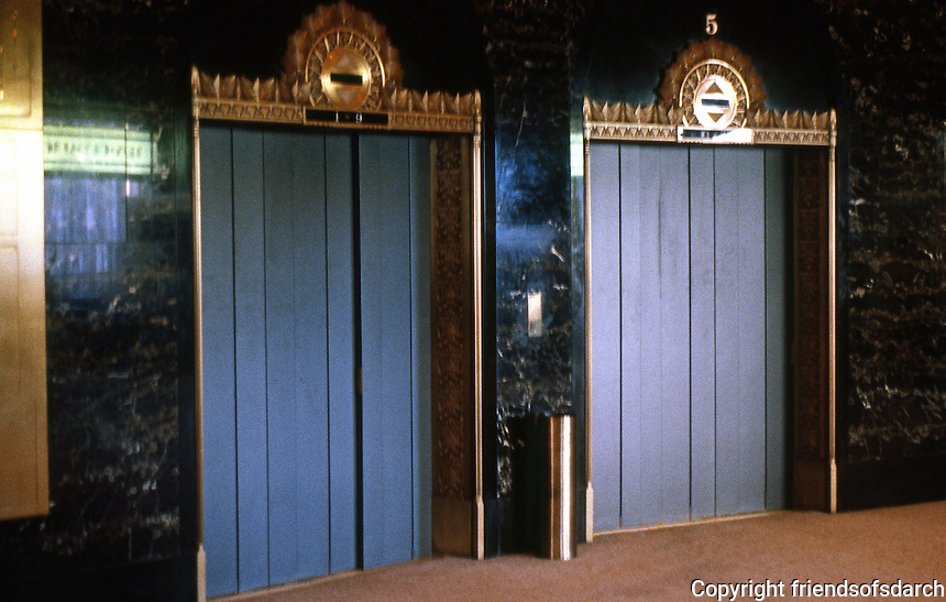 Seattle: Exchange Building, 1930. Elevator doors.  Photo '86.