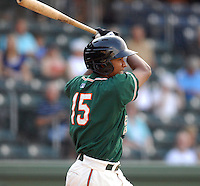 Outfielder Jose Duarte (15) of the Greensboro Grasshoppers in a game against the Greenville Drive on June 14, 2010, at Fluor Field at the West End in Greenville, S.C. Photo by: Tom Priddy/Four Seam Images