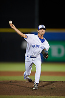 Dunedin Blue Jays relief pitcher Jared Carkuff delivers a pitch during a game against the St. Lucie Mets on April 19, 2017 at Florida Auto Exchange Stadium in Dunedin, Florida.  Dunedin defeated St. Lucie 9-1.  (Mike Janes/Four Seam Images)