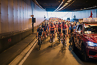 peloton rolling in a Brussels tunnel on their way to the actual start<br /> <br /> 98th Brussels Cycling Classic 2018<br /> One Day Race:  Brussels &gt; Brussels (201km)