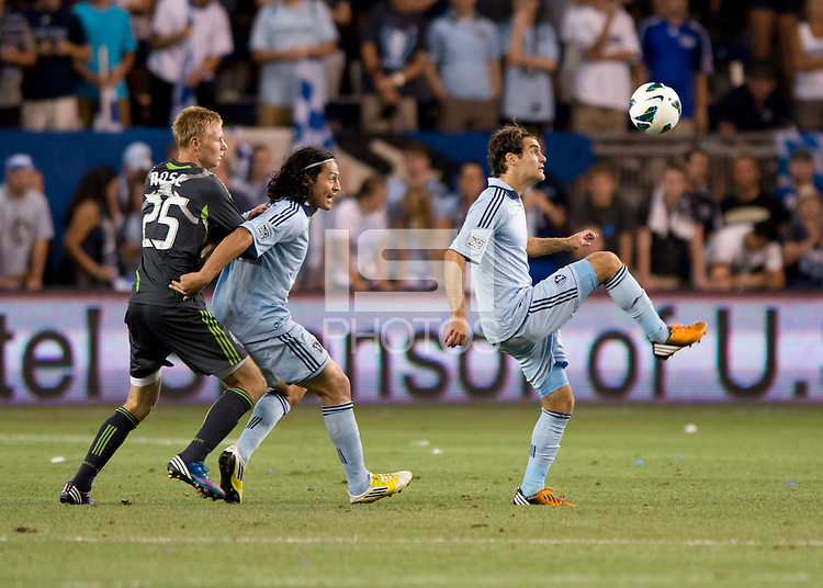 Graham Zusi, Roger Espinoza, Andy Rose. Sporting Kansas City won the Lamar Hunt U.S. Open Cup on penalty kicks after tying the Seattle Sounders in overtime at Livestrong Sporting Park in Kansas City, Kansas.