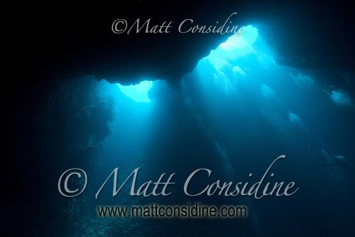 Looking up at two of the entrance holes in the top of the Blue Holes cave system. The divers' bubble bursts march across the face of the cave Palau Micronesia. (Photo by Matt Considine - Images of Asia Collection) (Matt Considine)
