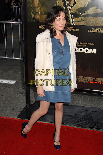 "NATASHA WAGNER.""The Kingdom"" Los Angeles Premiere at Mann's Village Theatre, Westwood, California, USA..September 17th, 2007.full length blue dress denim mary janes shoes white cream coat jacket .CAP/ADM/BP.©Byron Purvis/AdMedia/Capital Pictures."