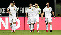 Calcio, Serie A: Inter - Roma, Milano, stadio Giuseppe Meazza (San Siro), 21 gennaio 2018.<br /> Roma's Stephan El Shaarawy (second from right) celebrates after scoring with his teammates during the Italian Serie A football match between Inter Milan and AS Roma at Giuseppe Meazza (San Siro) stadium, January 21, 2018.<br /> UPDATE IMAGES PRESS/Isabella Bonotto